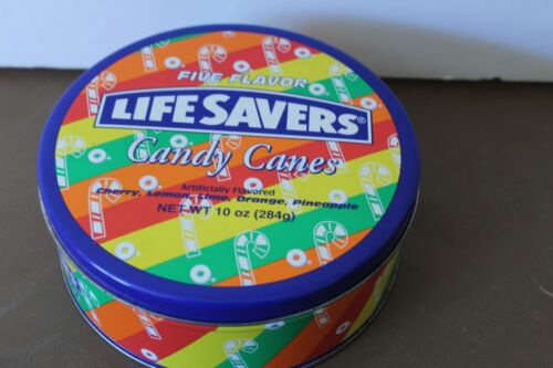 "6.5"" Five Flavor Life Savers Candy Canes Tin Canister"