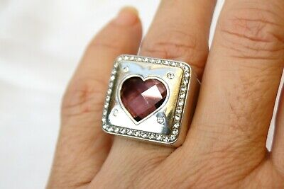 NWT Brighton Your True Color Open Hearted Silver Pink Crystal Heart Ring Size 9