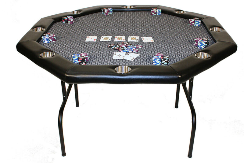 New Folding Poker Table - Featuring Sutied Speed Cloth -  Stainless Cup Holders