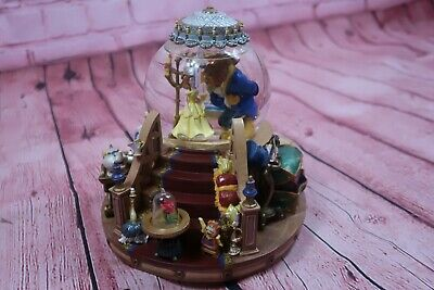 NEW Rare Disney Beauty and The Beast Musical Snow Globe w/ Fireplace