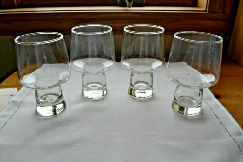 """Set of 4 Libbey Clear ACCENT Stout Beer Glasses Hollow Stem/Base 5 1/2"""""""