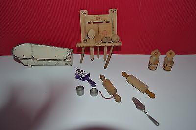 Möbel Puppenhaus 1900 Puppenstube Küche Kinderküche Gründerzeit Geschirr