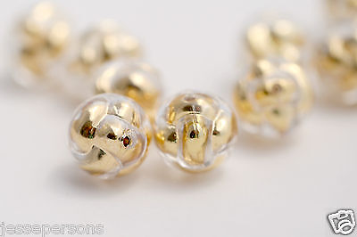 Vintage Lucite Crystal Gold Bubble Knot Round Beads 14mm (12)