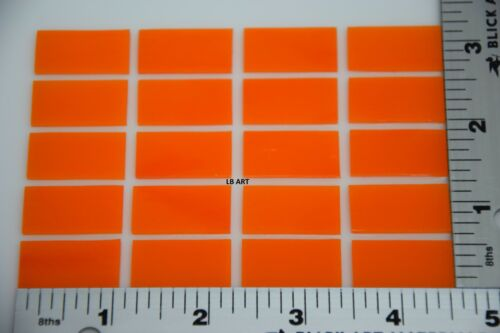 "0025.50 - 20 PIECES THIN TANGERINE ORANGE OPAL 1/2"" x 1"" BULLSEYE GLASS 90 COE"