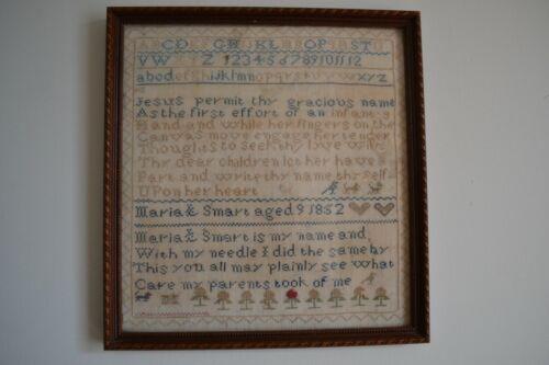 ANTIQUE AMERICAN SCHOOLGIRL SAMPLER MARIA SMART, AGE 9, DATED 1852 VERSE, MOTIFS