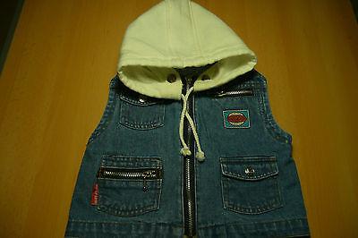Gr 74 Süße Jacke, Kapuzenjacke ohne Ärmel, Baby Jeans auffälliges Design Unisex