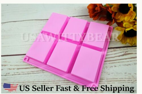 Rectangle Silicone Soap Making Molds Baking DIY Mold For Cake Bakeware US Seller