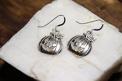925 sterling silver earrings charm Halloween Pumpkin Jack O pewter 1 pair