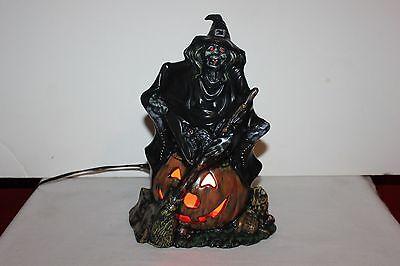 Vintage  Byron Molds Ceramic Witch w/Pumpkin / Blk Cat Light Halloween Lamp