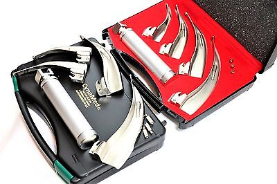 German Set Of 4 Laryngoscope Mac Intubation Blades Medium Handle Anesthesia
