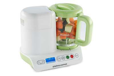 Andrew James Digital Baby Food Maker Green - Compact Blender & Steamer