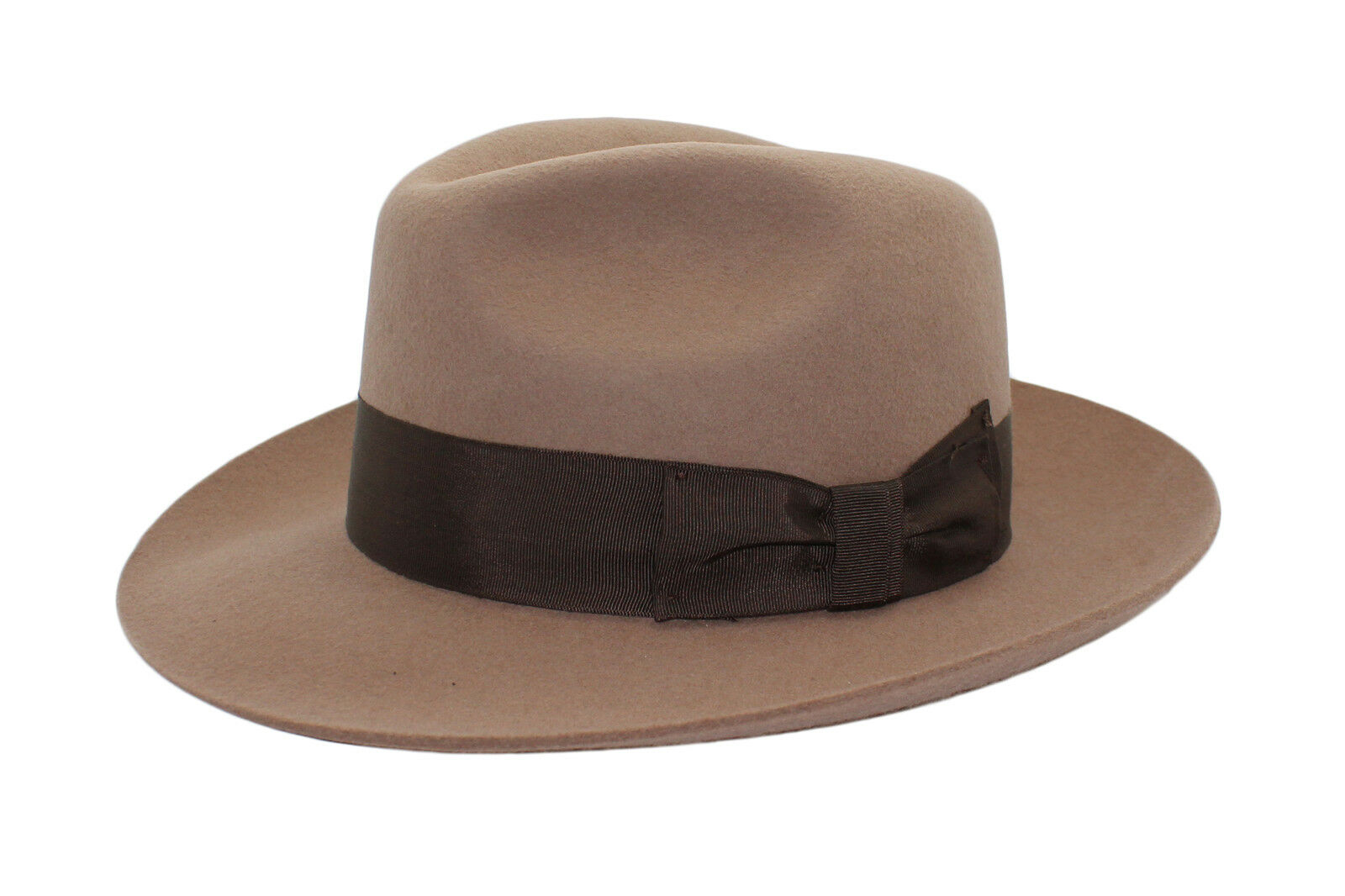 DH Mustard Gents Fedora Felt Trilby Hat with Wider Brim 100/% Wool