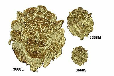 3668  Gold Royal Lion Embroidery Iron On Applique Patch L M S