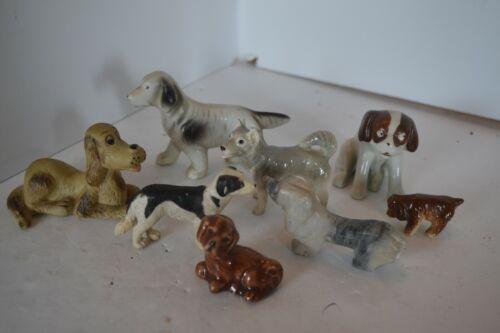 Vintage Porcelain Stone Plastic Puppy Dog  Figure Lot 5 Japan