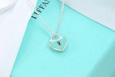 "RARE Tiffany & Co Silver Blue Enamel Small Heart Keyhole Pendant 17"" Necklace"