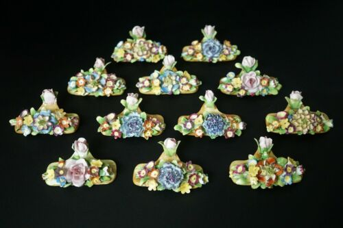 ANTIQUE GERMAN Von SCHIERHOLZ PORCELAIN FLOWER PLACE CARD HOLDERS Set of 12