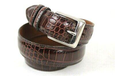 Polo Ralph Lauren Mahogany Alligator / Crocodile Embossed Leather Belt 34