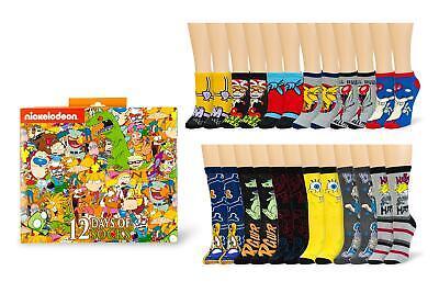 Nickelodeon 12 Days of Socks Gift Set for Men & Women | 6 Crew | 6 Ankle