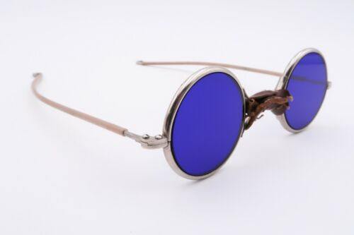 VINTAGE Antique Cobalt Blue Welding Glasses Round Silver WB 3 Leather B863