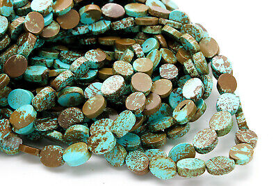 Natural Genuine Turquoise Smooth Flat Oval Loose Gemstone Beads 3mm x 8mm x 10mm