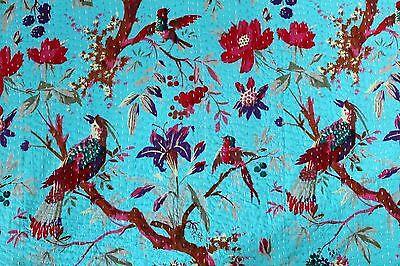KING SIZE INDIAN KANTHA QUILT 100% COTTON HANDMADE BLANKET GUDARI BIRD BLUE 011