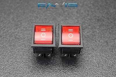 2 Pcs Rocker Switch Red Led Dpdt On Off On 15 Amp 250v 20 Amp 125v 6 Pin Ec-623