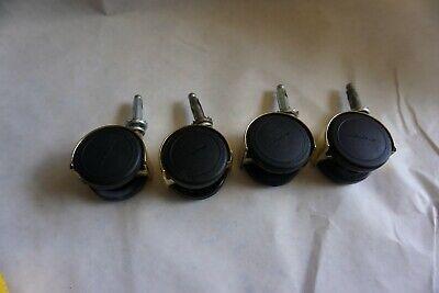 4 Pcs. Shepard Brass Hooded Twin Wheel Swivel 2 Office Chair Caster