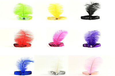 Haarband Stirnband Retro Feder Pailletten Flapper 20er-30er Haarschmuck A196