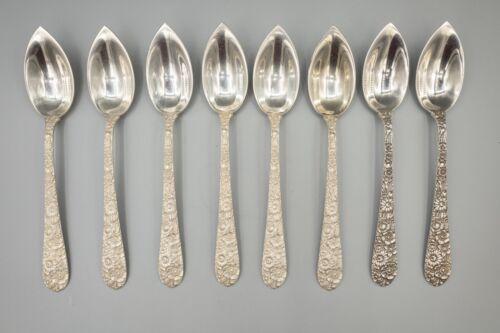 """Alvin Bridal Bouquet Sterling Silver Fruit Citrus Spoons 5 7/8"""" Set of 8"""