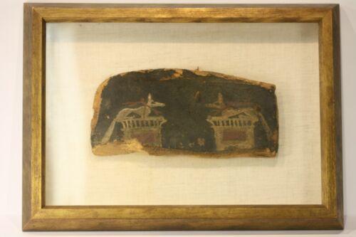 Antique Ancient Egyptian Painted Saite Period 800-400 B.C. Wooden Fragment