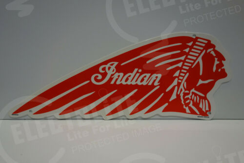 """INDIAN MOTORCYCLE ICONIC DEALERSHIP SIGN. 7 1/2"""" BY 18"""". VERY COLORFUL!"""