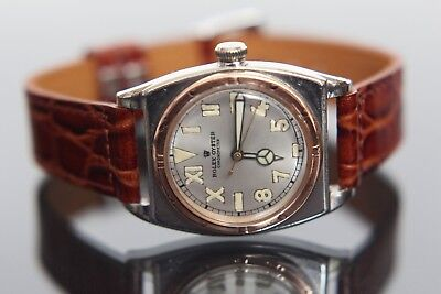 Rare 1940's Rolex Oyster Viceroy California Dial 14k Rose Gold & SS Wristwatch