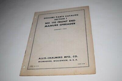1965 Allis Chalmers No. 110 Front End Manure Spreader Dealers Parts Catalog