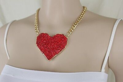 Sexy Women Necklace Gold Metal Chain Link Red Bling Big Love Heart Bling (Sexy Chain Link)