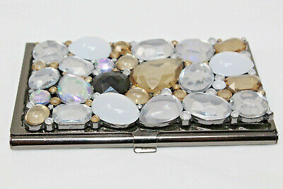 Beautiful Dark Silvertone Business Card Holder With Rhinestones Cabochons C