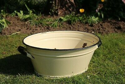 Pale Yellow Enamel Tub, Planter for Flowers, Display, Shop. #110