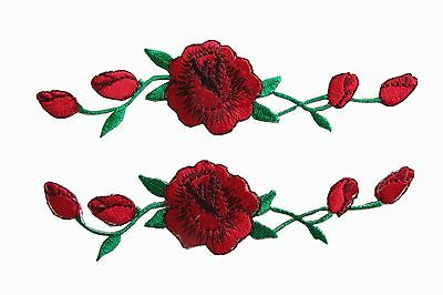 #3965R Lot 2 Pcs Red Rose Flower Embroidery Applique Patch