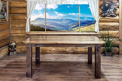 - Rustic Farmouse Dining Room Tables Amish Made Rough Cut Wood Furniture 6 Ft Long