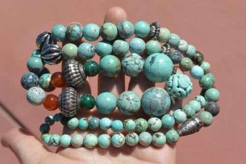 Vintage Chinese Turquoise Agate Carnelian Malachite Carved Carving Bead Necklace