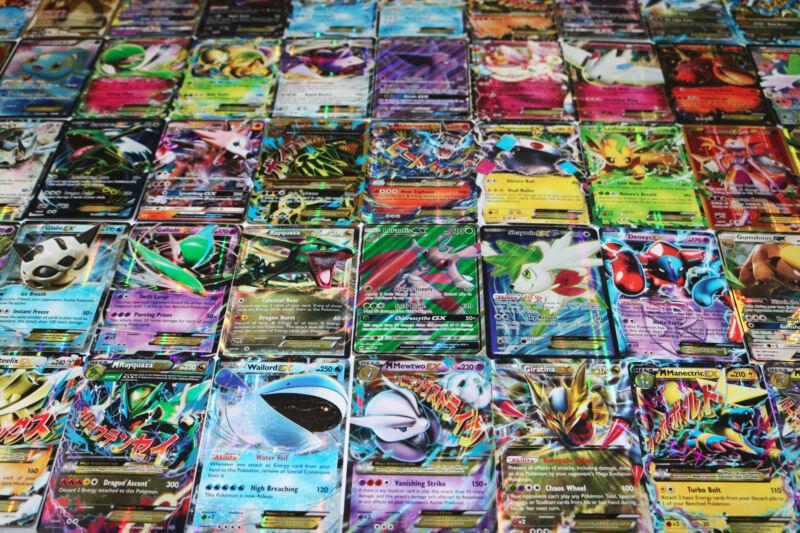 Pokemon Card Lot 100 Official Tcg Cards With Rare Com Unc + Gx Ex Hyper Or Mega