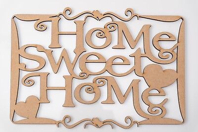Wooden MDF Plaque - 'Home Sweet Home' writing with hearts in frame - blank shape