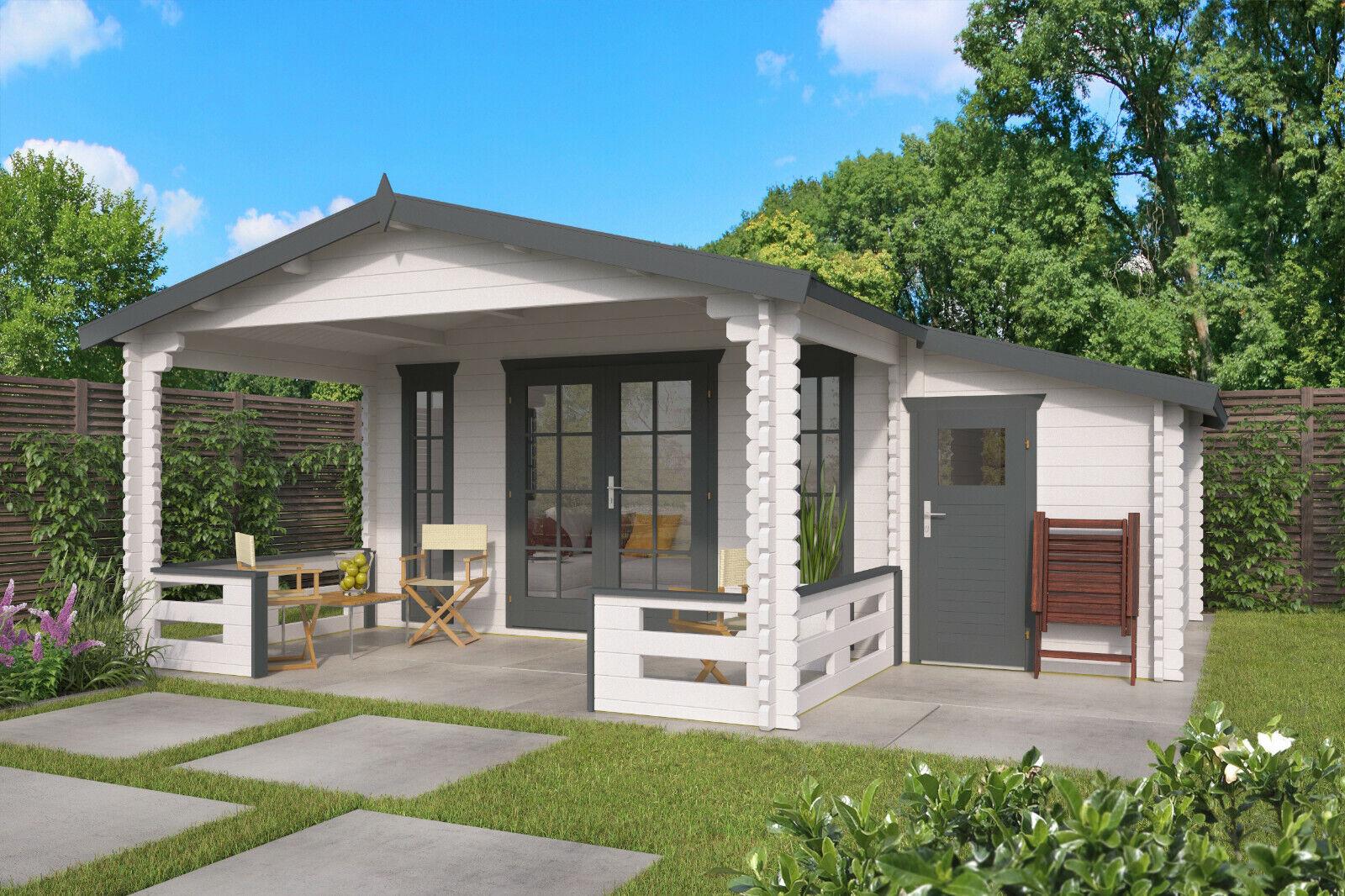 Details zu 44 mm Gartenhaus + Terrasse + Anbauschuppen 585x530 cm Blockhaus  Holzhaus Holz