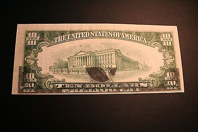 1950 A TEN DOLLAR NOTE GHOST OVERPRINT  AWESOME ERROR