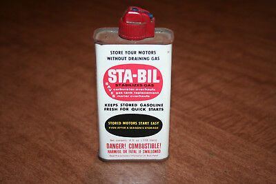 Vintage Sta-Bil 4 Ounce Gas Stabilizer Can Empty Advertising Tin See Pix!!