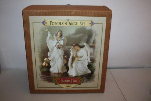 2000 Grandeur Noel Porcelain Angel Set Collectors Edition White Gold Rim MINT!!