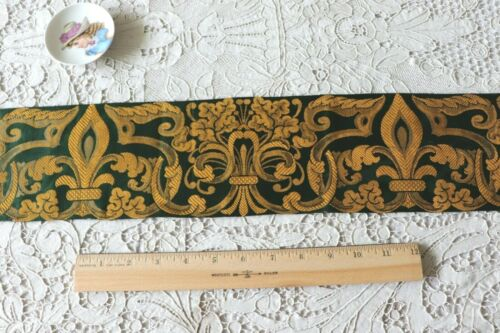 "Antique  French c1870 Woven Jacquard Border Fabric~Green & Gold~Xmas~34"" X 4.5"""