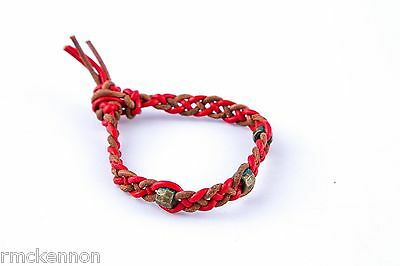 Handcrafted Red and Brown Braided Leather Friendship Bracelet with Bead Detail