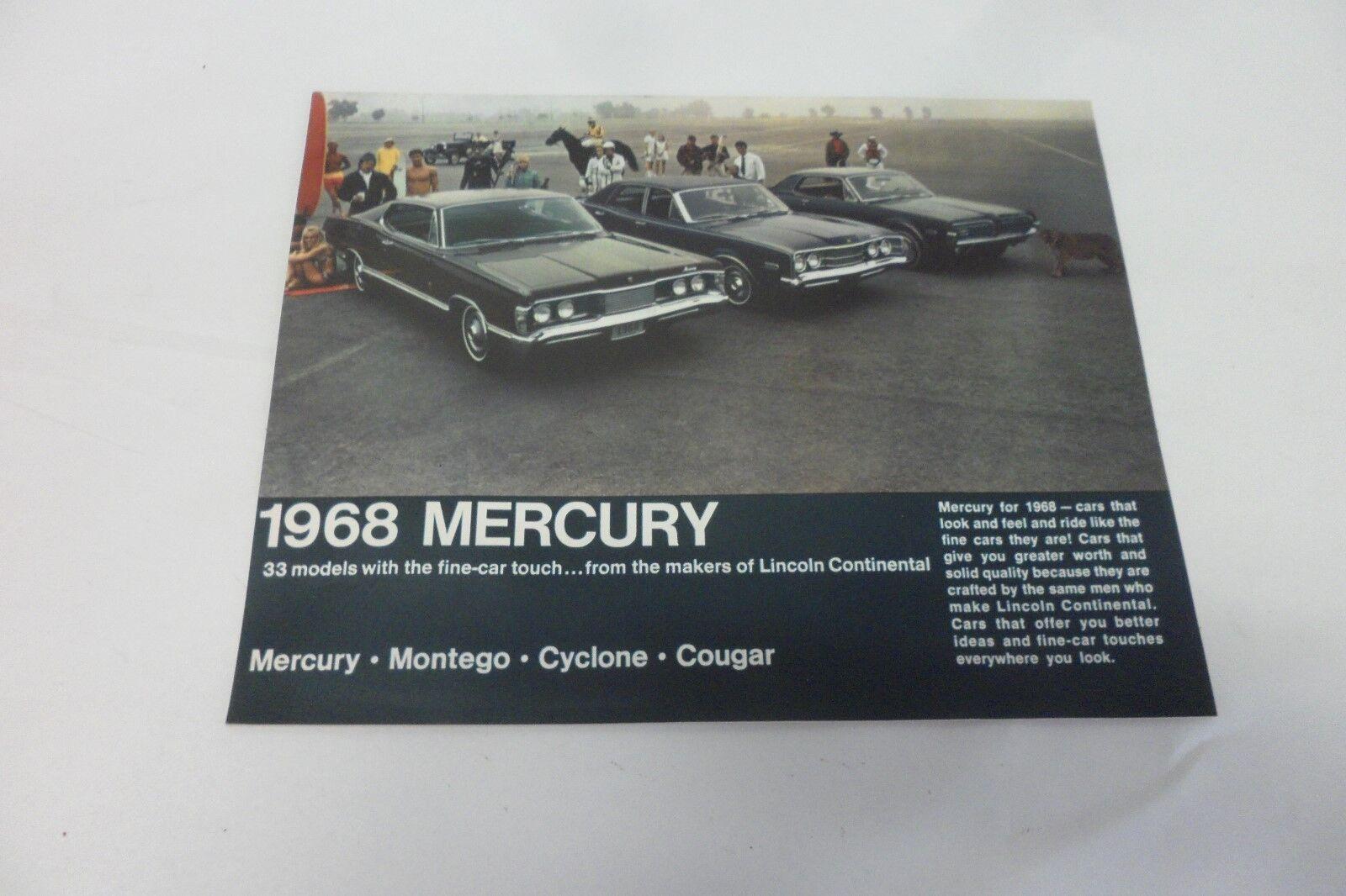 Vintage 1968 Mercury Montego MX Cyclone Cougar Brochure - $7.89