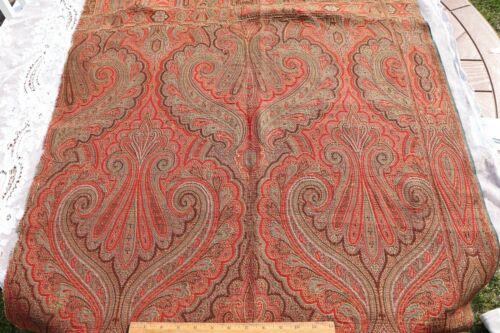 "Antique c1870  Double Woven Jacquard Wool Paisley Frame Shawl Fabric~64"" X 32"""