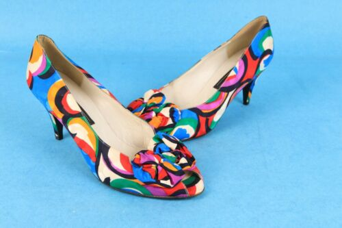 Vintage 80s STUART WEITZMAN Multi Color Peep Toe High Heel Pumps Shoes size 10 M